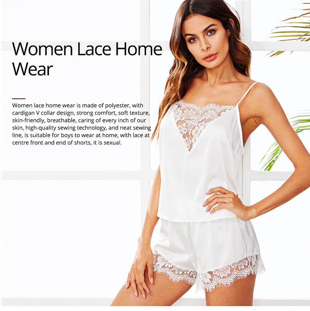 Hot Women Sleepwear Sets Sleeveless Strap Lace Trim Satin Top Nightwear Sexy Summer Home Wear Sleep Wear 0