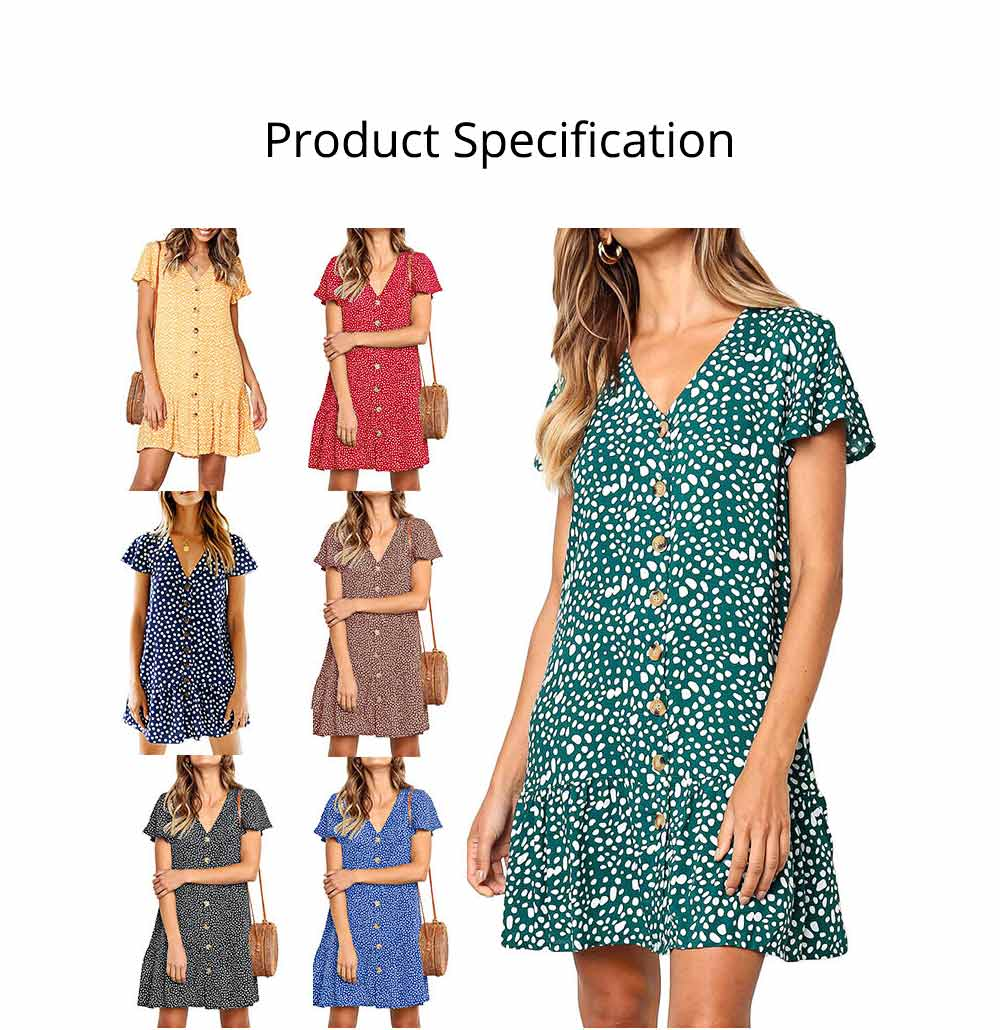 Summer Dot Print Dress Fashion V Neck Button Chiffon Casual Short Sleeve Women Sundress Mini Party Ladies Loose Ruffled Skirt 6