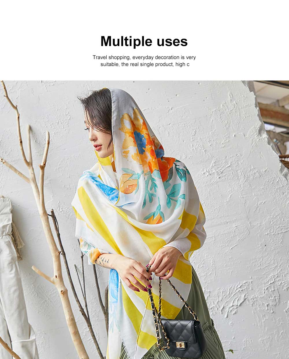 Spring and Summer Cotton Linen Printing Scarf, Ladies Travel Sunscreen Scarf Shawl All Match Scarves For Women Girl 1