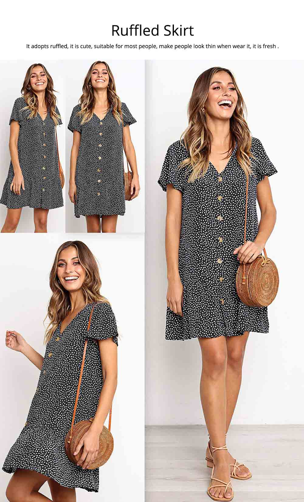 Summer Dot Print Dress Fashion V Neck Button Chiffon Casual Short Sleeve Women Sundress Mini Party Ladies Loose Ruffled Skirt 4