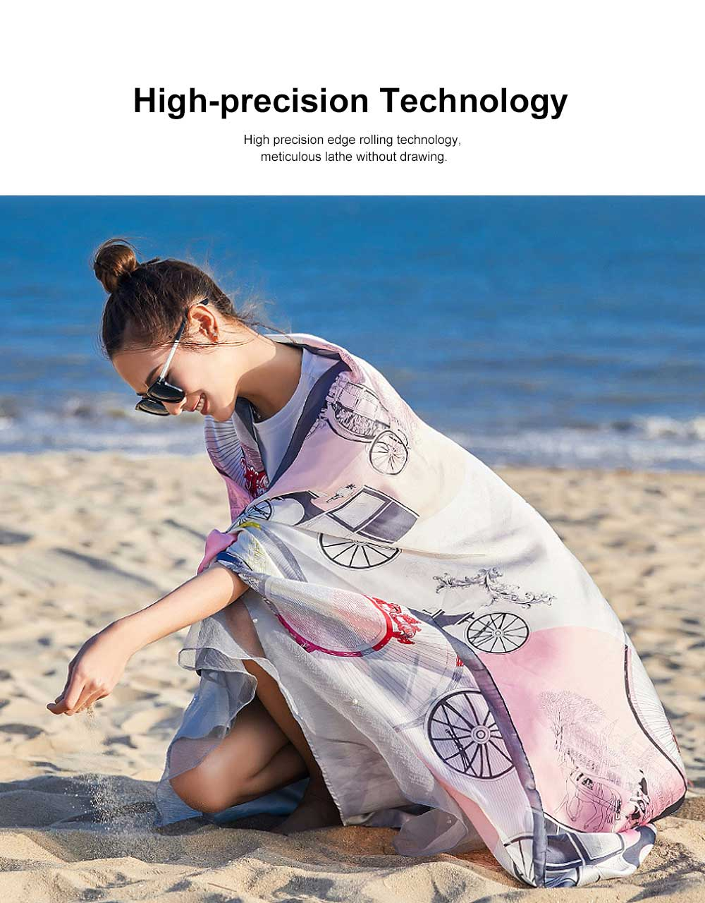 Long Silk Scarf Shawl Sunscreen Printed Beach Towel, New Spring and Autumn Silk Scarf of 2020 3