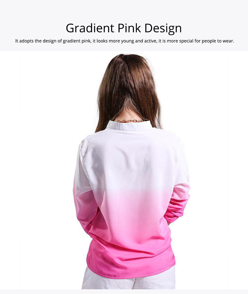 2019 HOT Popular Lady Blouse Sexy V Collar Long-sleeved Women's Chiffon Gradient Pink Shirt For Lady Women 3