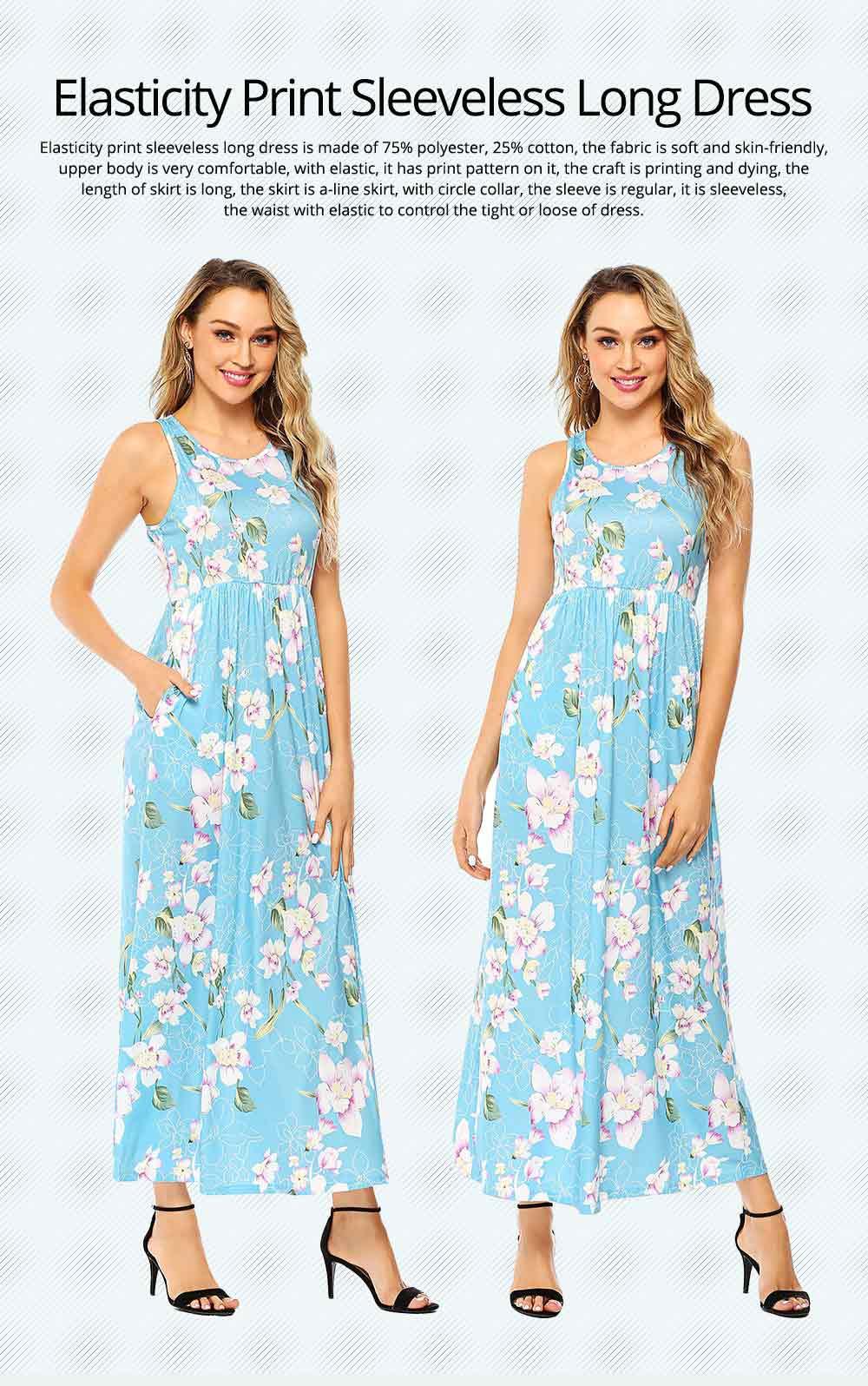 Slim Elegant Long Skirt Summer Elasticity High Waist Women's Flower Print Sleeveless Dress With Pockets Beach Dresses For Ladies 0