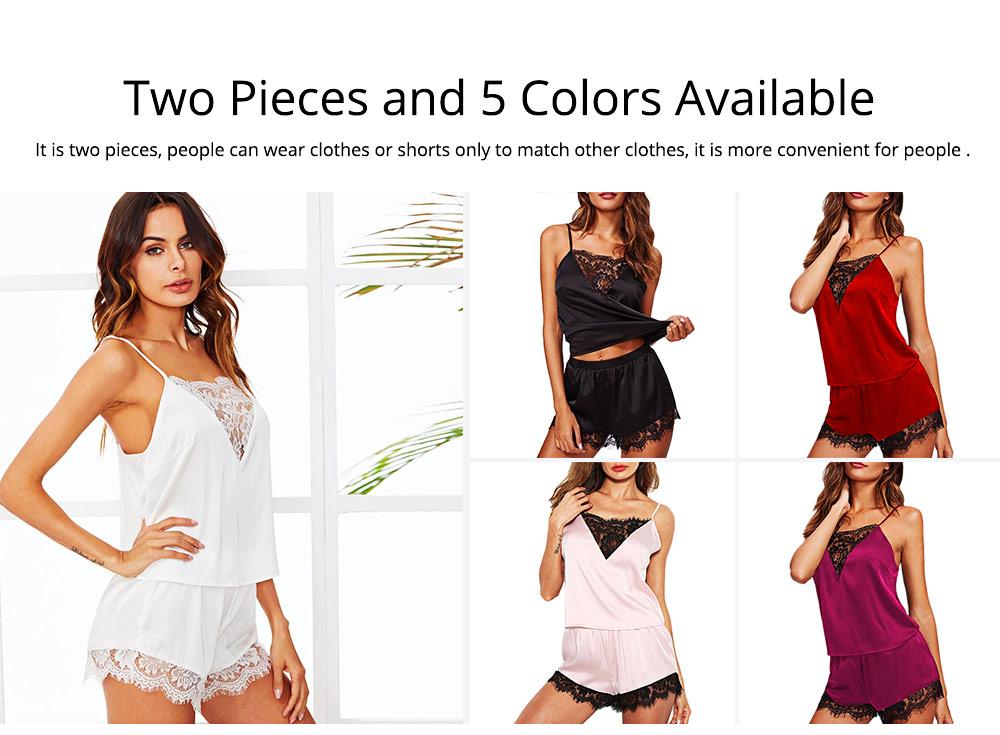 Hot Women Sleepwear Sets Sleeveless Strap Lace Trim Satin Top Nightwear Sexy Summer Home Wear Sleep Wear 4