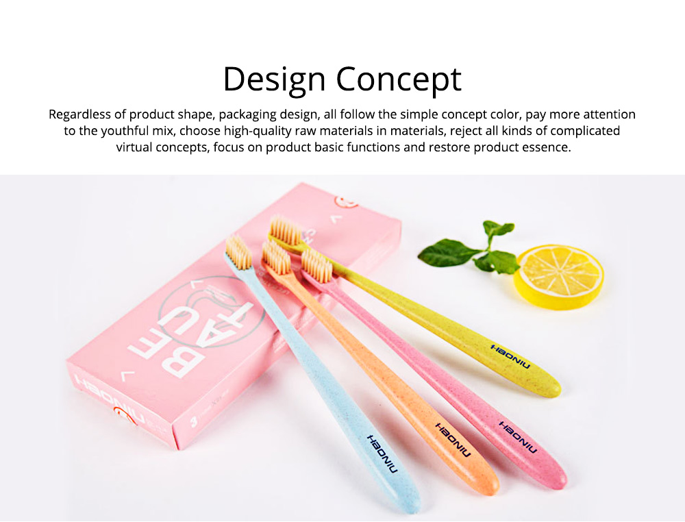 Economic Friendly Oral Hygiene Natural Wheat Straw Toothbrush Tooth Care Cleaning Ultra Soft Slim Tip Bristle Brush Adult Teeth 2