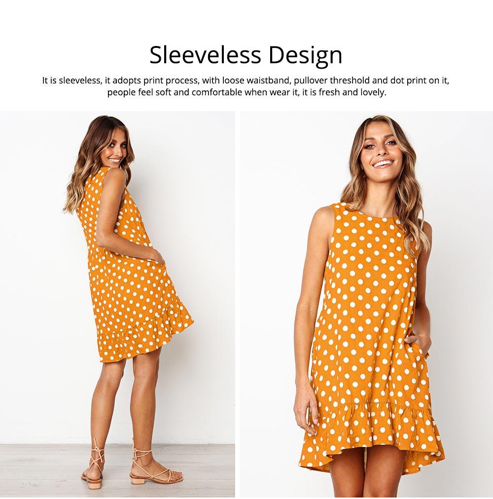 2020 Hot Sell Summer Women Girls Print Polka Dot Dress Ruffle Sleeveless A-Line Casual Loose Short Skirt 5