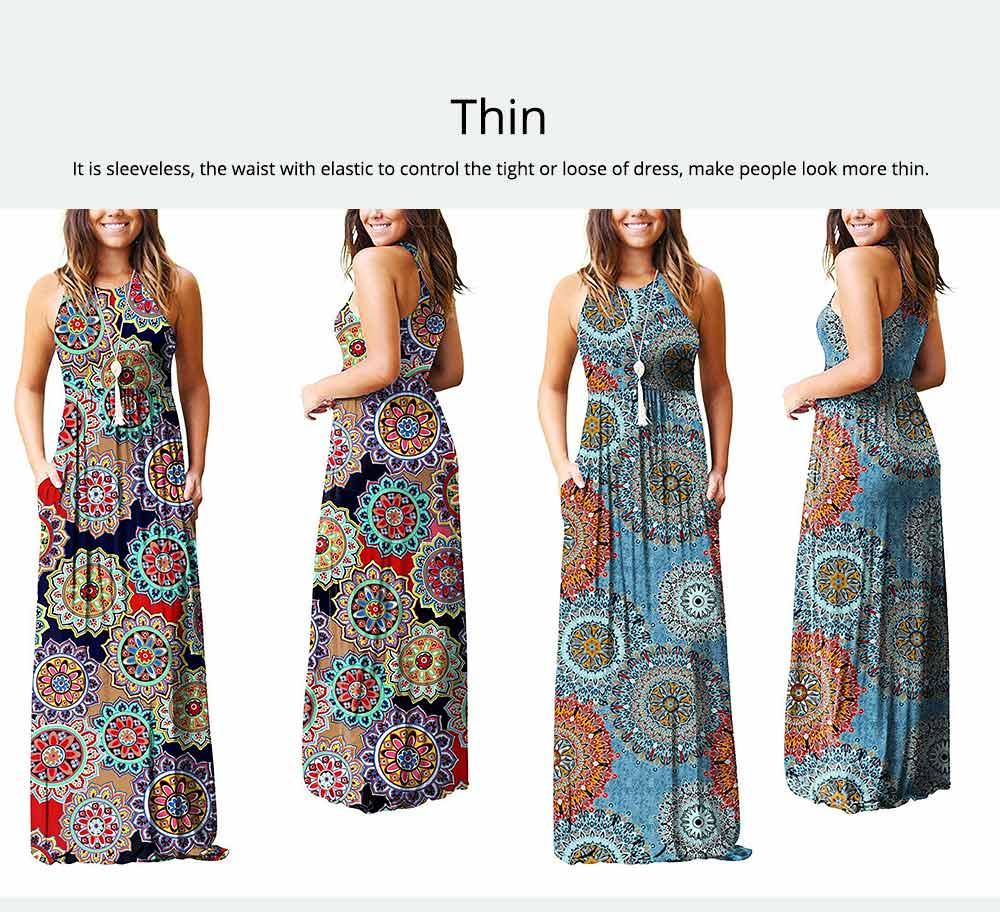 Slim Elegant Long Skirt Summer Elasticity High Waist Women's Flower Print Sleeveless Dress With Pockets Beach Dresses For Ladies 5