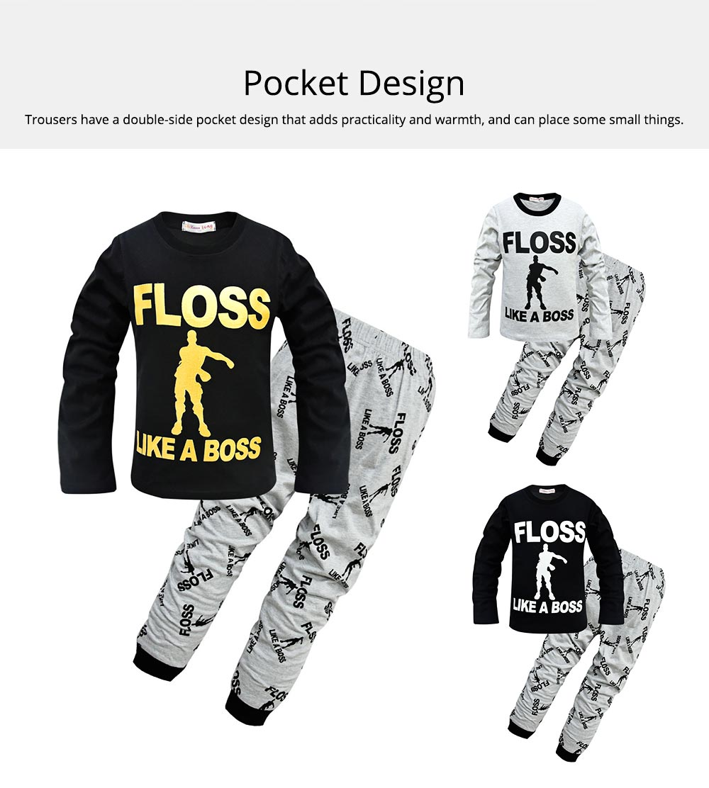 Warm Long-sleeved Jacket and Trousers Two-Piece Suit Children Clothing Cotton Pants With English Alphabet Pattern 2