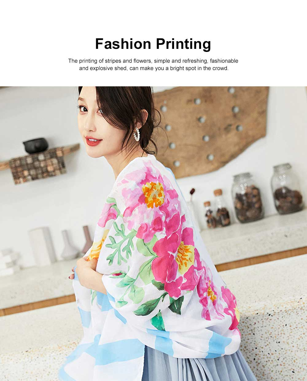 Spring and Summer Cotton Linen Printing Scarf, Ladies Travel Sunscreen Scarf Shawl All Match Scarves For Women Girl 3