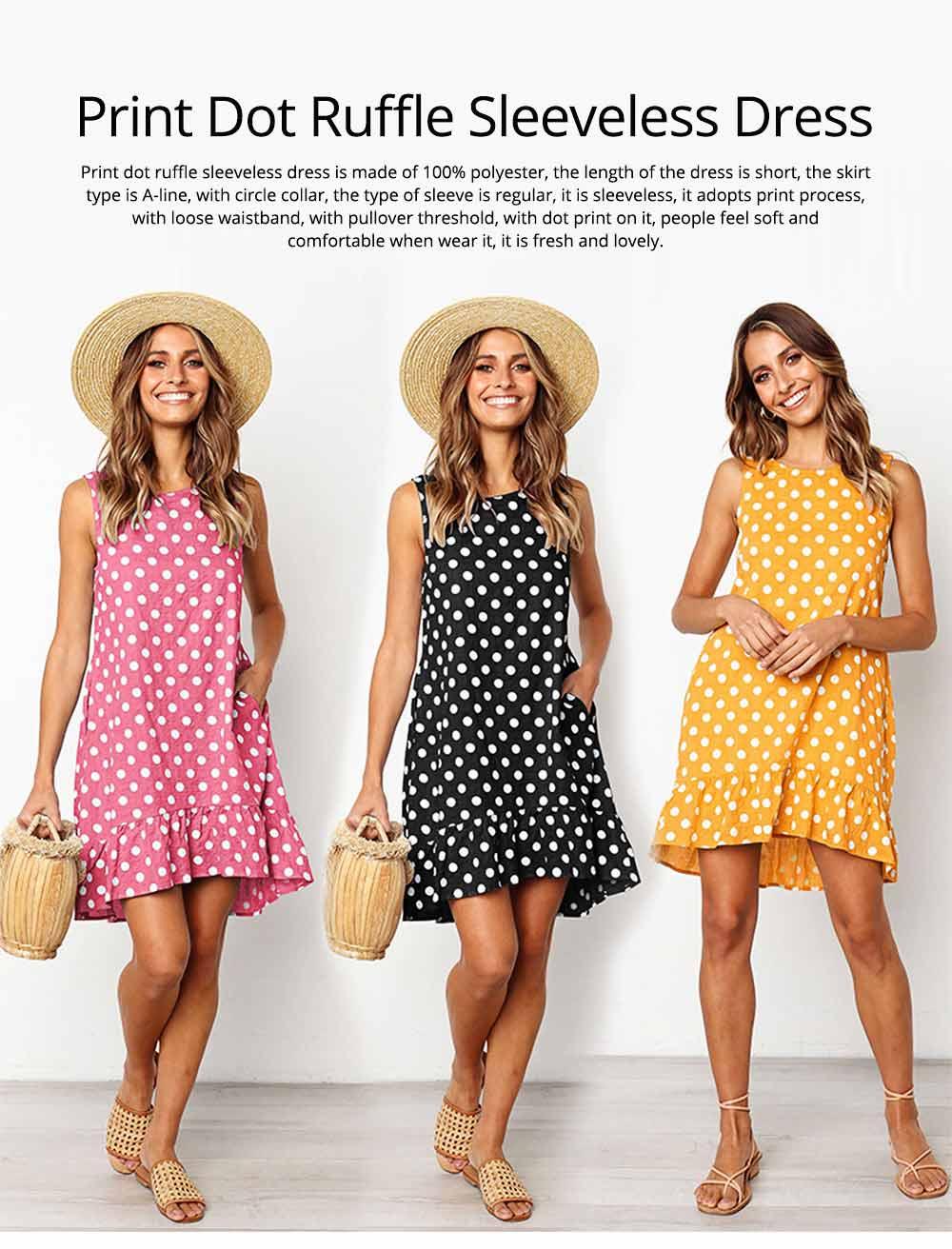 2020 Hot Sell Summer Women Girls Print Polka Dot Dress Ruffle Sleeveless A-Line Casual Loose Short Skirt 0