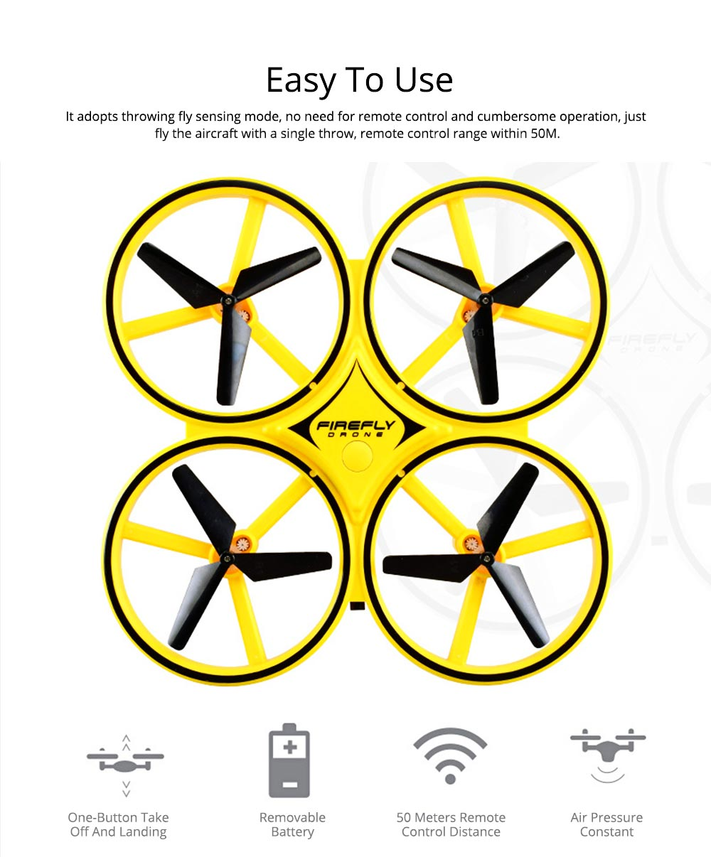 Children's Vehicle Remote Control Aircraft UFO Watch Intelligent Induction Shock Resistance Recharging Four-axis Aircraft Drone Toy 1