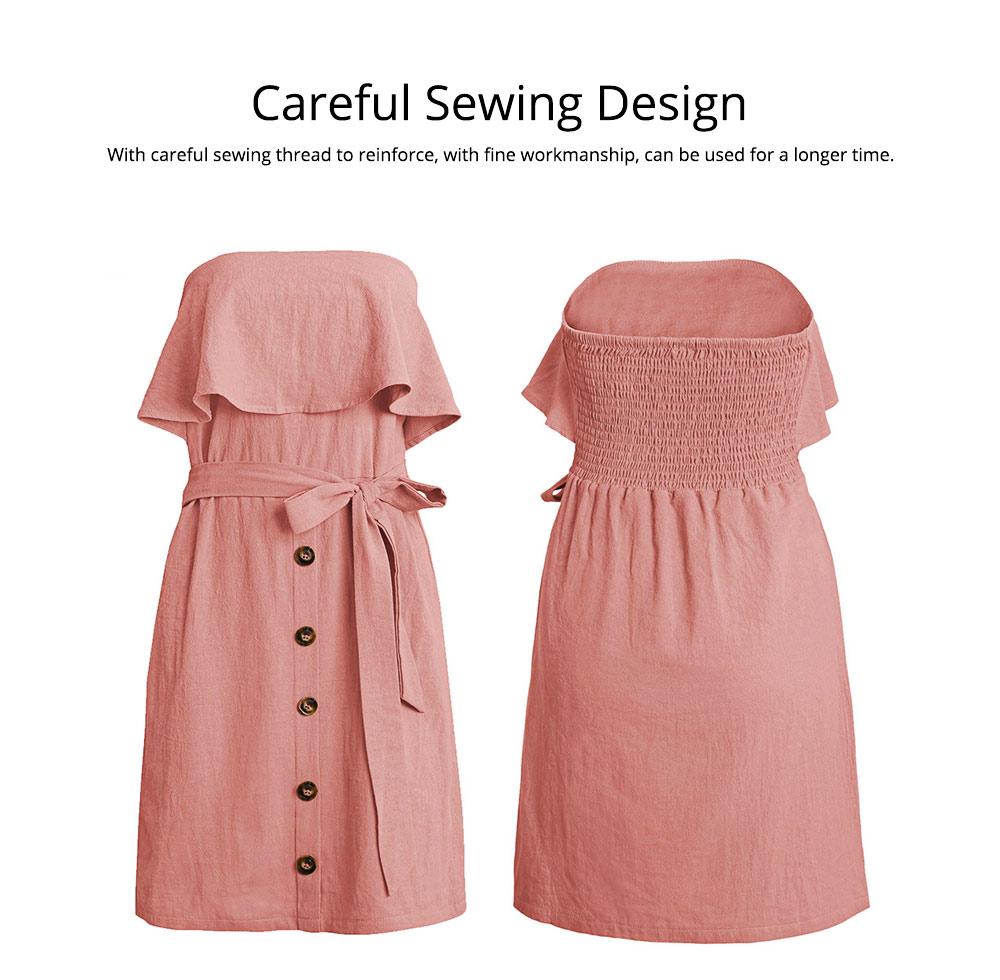 Romantic Off Shoulder Flounce Ruffle Striped Waist Summer Casual Wrap Dress Snap In Front Short Skirt For Women 5