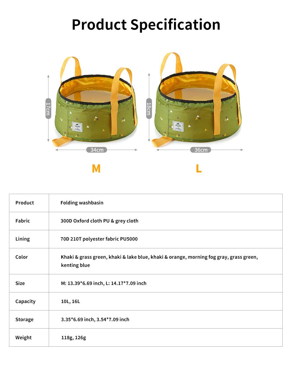NH Folding Washbasin Water Bucket Environmental PVC Portable Outdoor Hot Water Travel Foot Basin 6
