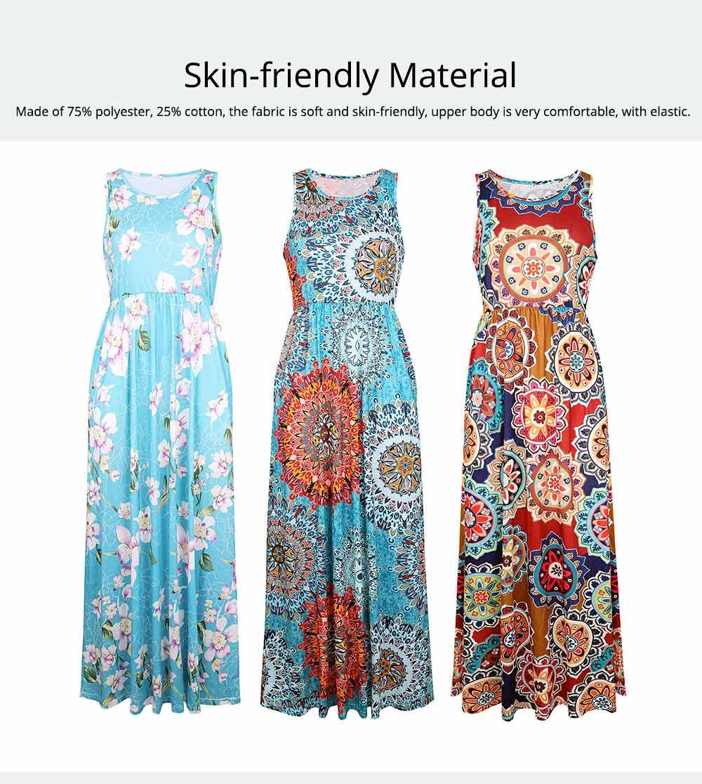 Slim Elegant Long Skirt Summer Elasticity High Waist Women's Flower Print Sleeveless Dress With Pockets Beach Dresses For Ladies 1