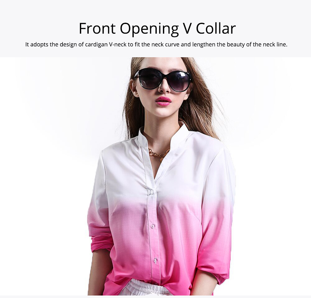 2019 HOT Popular Lady Blouse Sexy V Collar Long-sleeved Women's Chiffon Gradient Pink Shirt For Lady Women 1