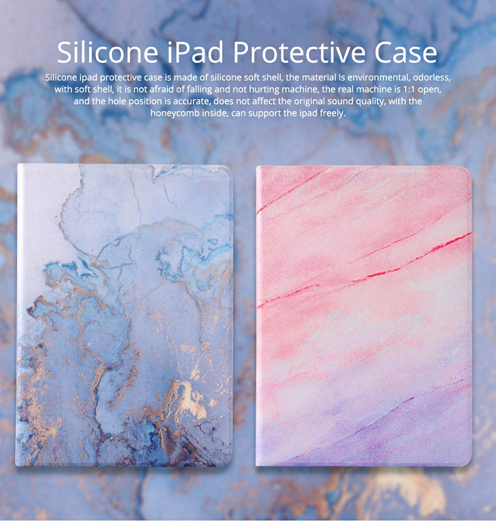 TPU Leather Protective Flip Cover Cases Silicone Soft Shell Marble Pattern Flat Set For iPad Pro 9.7 Inch, Air 1 2, Mini 5 4 3 2, 2018 New iPad 0