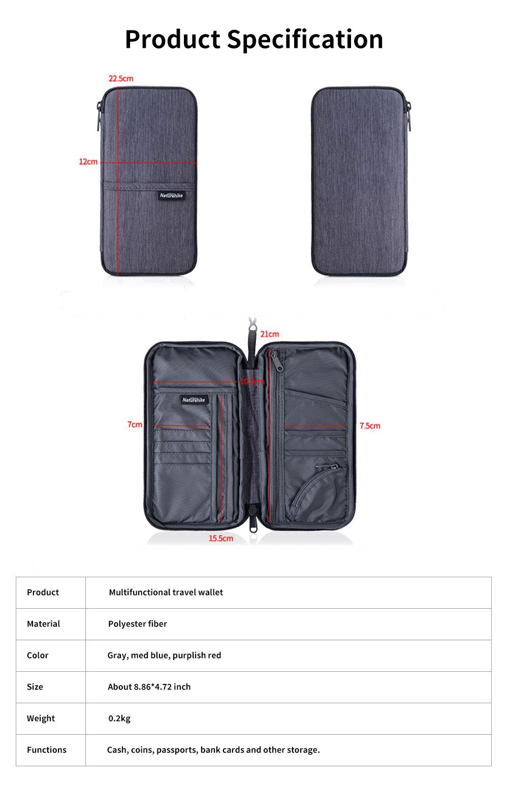 NH Travel Wallet Multifunctional Storage Bag Waterproof Documents Cash Change Passports Zipper Simple Card Holder 7