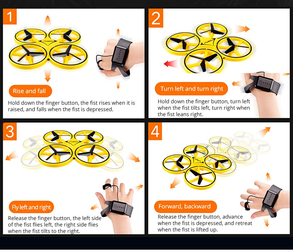 Children's Vehicle Remote Control Aircraft UFO Watch Intelligent Induction Shock Resistance Recharging Four-axis Aircraft Drone Toy 7