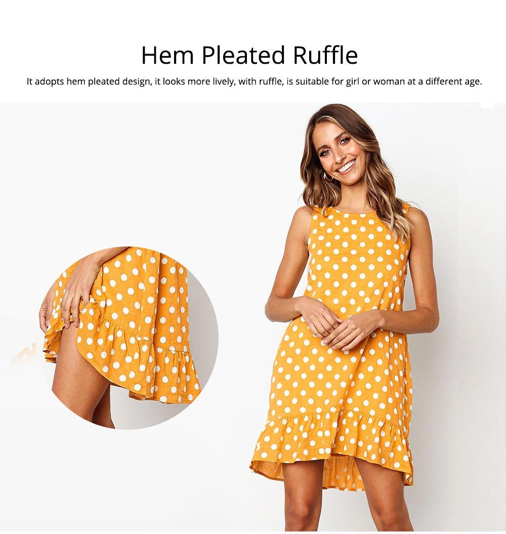2020 Hot Sell Summer Women Girls Print Polka Dot Dress Ruffle Sleeveless A-Line Casual Loose Short Skirt 3