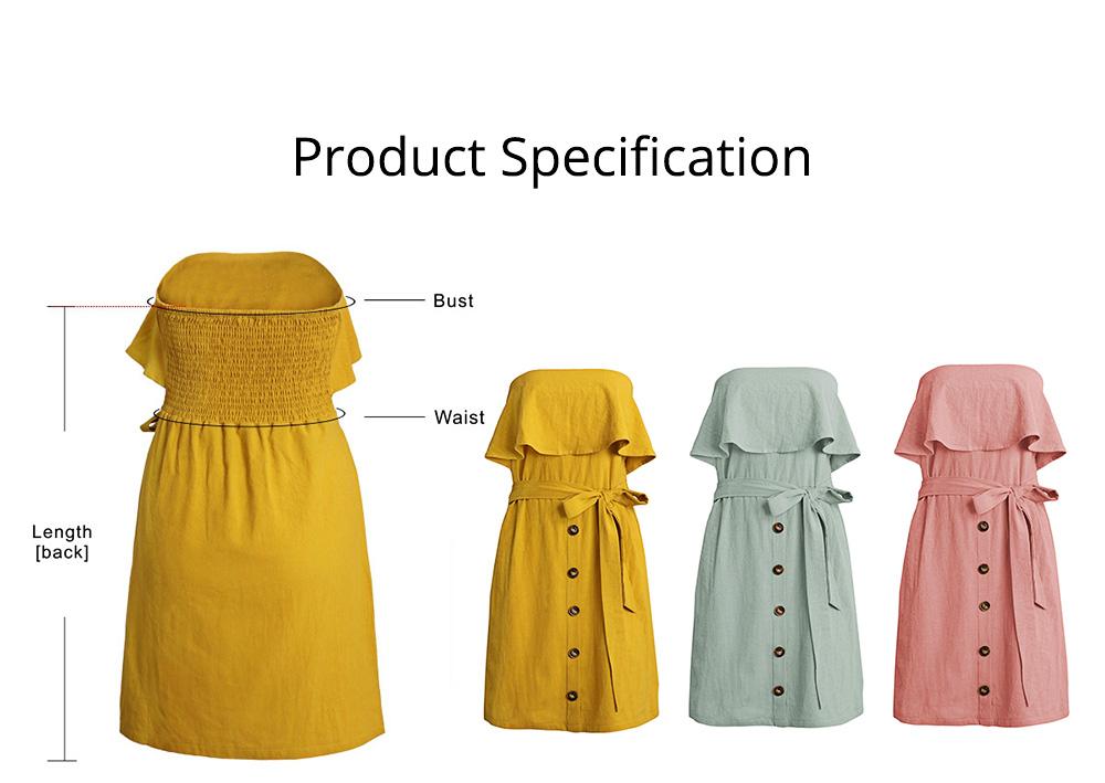 Romantic Off Shoulder Flounce Ruffle Striped Waist Summer Casual Wrap Dress Snap In Front Short Skirt For Women 6