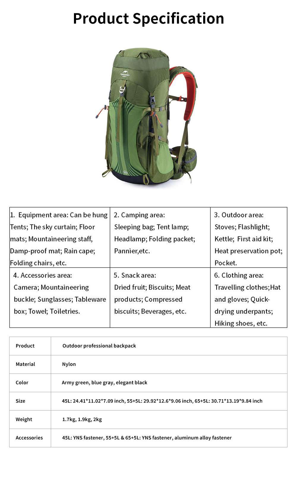 NH Outdoor Professional Backpack Unisex Multifunctional Travel Hiking Bag 65L Large Capacity Mountain Backpack 6