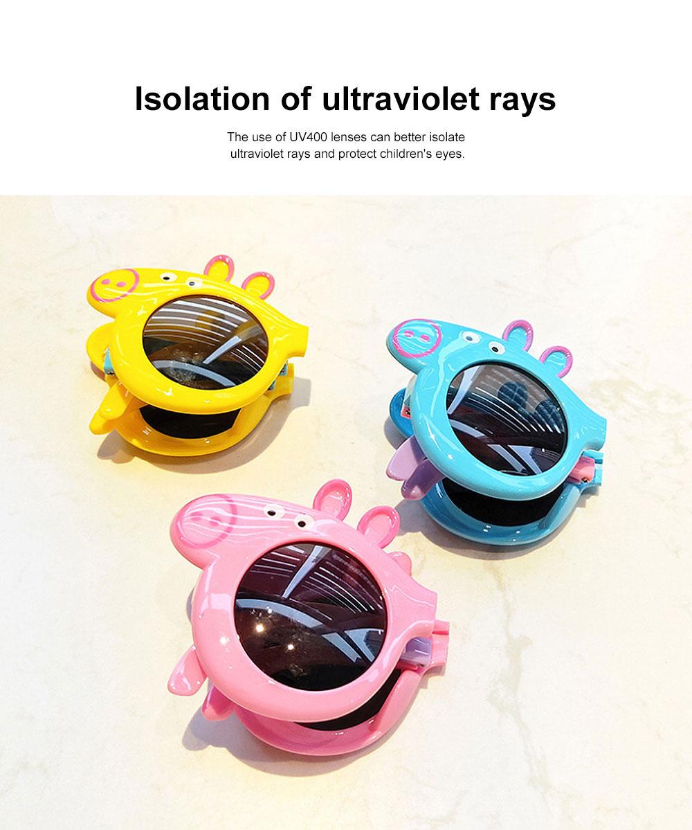 Foldable Piggy-style Children's Sunglasses High-end Upgrade Sunglasses Gift Box for Girls Boys Polarized UV400 Children's Sun Glasses 2