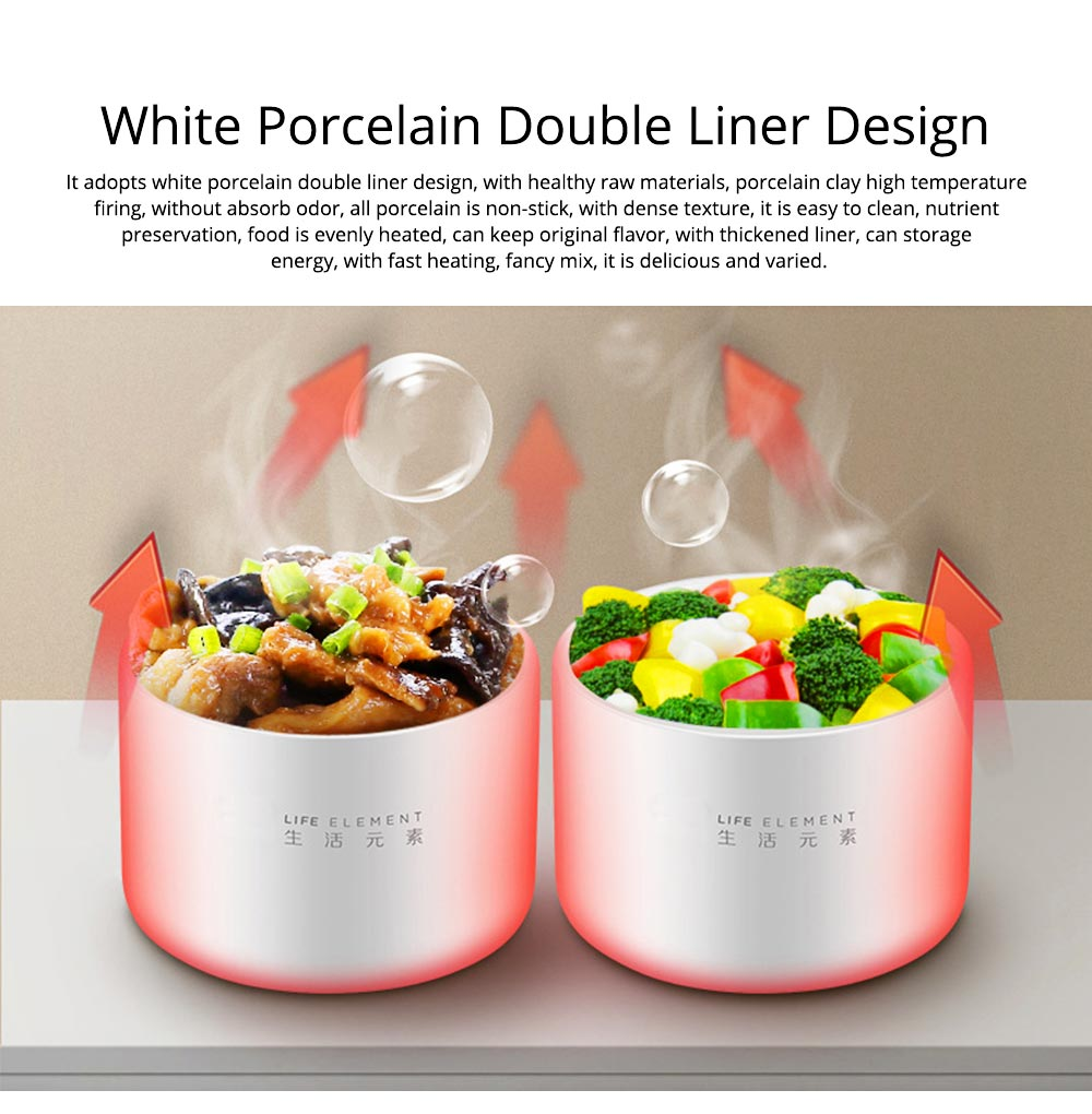 Portable Double Ceramic Liner Insulation Lunch Box Multi-function Food Storage Fresh-Keeping Plastic Boxes Electric Heating Lunch 3