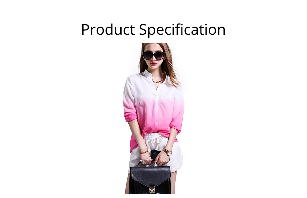2019 HOT Popular Lady Blouse Sexy V Collar Long-sleeved Women's Chiffon Gradient Pink Shirt For Lady Women 6