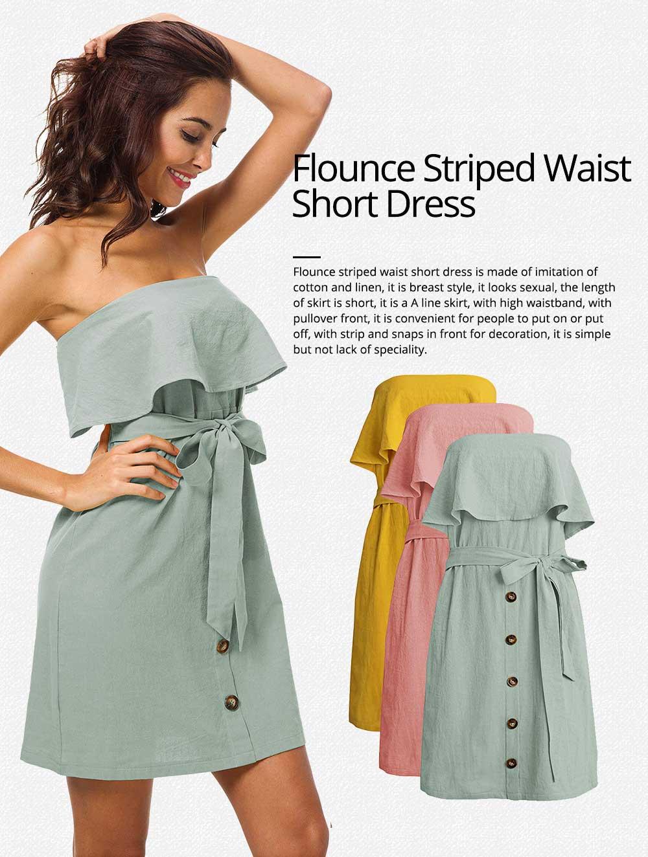 Romantic Off Shoulder Flounce Ruffle Striped Waist Summer Casual Wrap Dress Snap In Front Short Skirt For Women 0