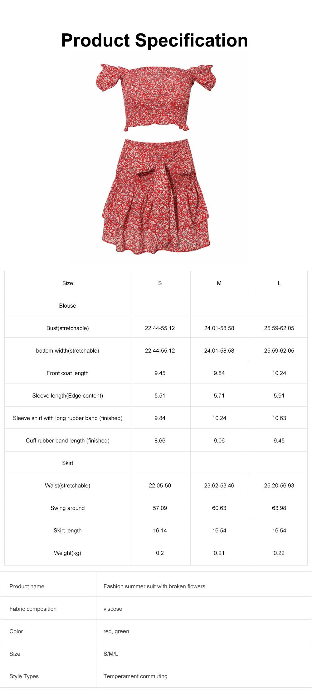 Fashion Summer Suit with Flowers Printing, A Shoulder Shirt with a Half-length Skirts Suit For Women Girls 6