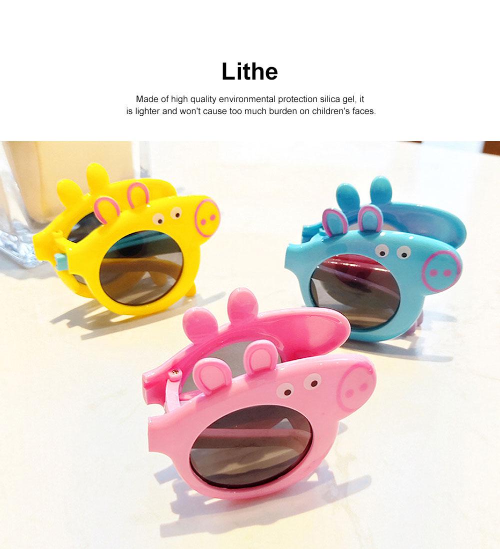 Foldable Piggy-style Children's Sunglasses High-end Upgrade Sunglasses Gift Box for Girls Boys Polarized UV400 Children's Sun Glasses 4