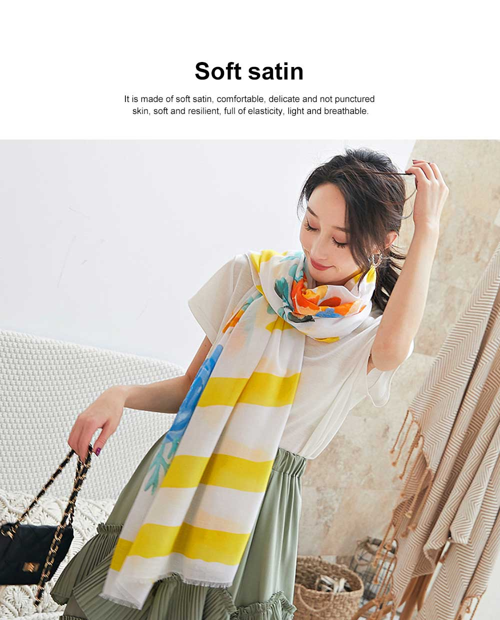 Spring and Summer Cotton Linen Printing Scarf, Ladies Travel Sunscreen Scarf Shawl All Match Scarves For Women Girl 2