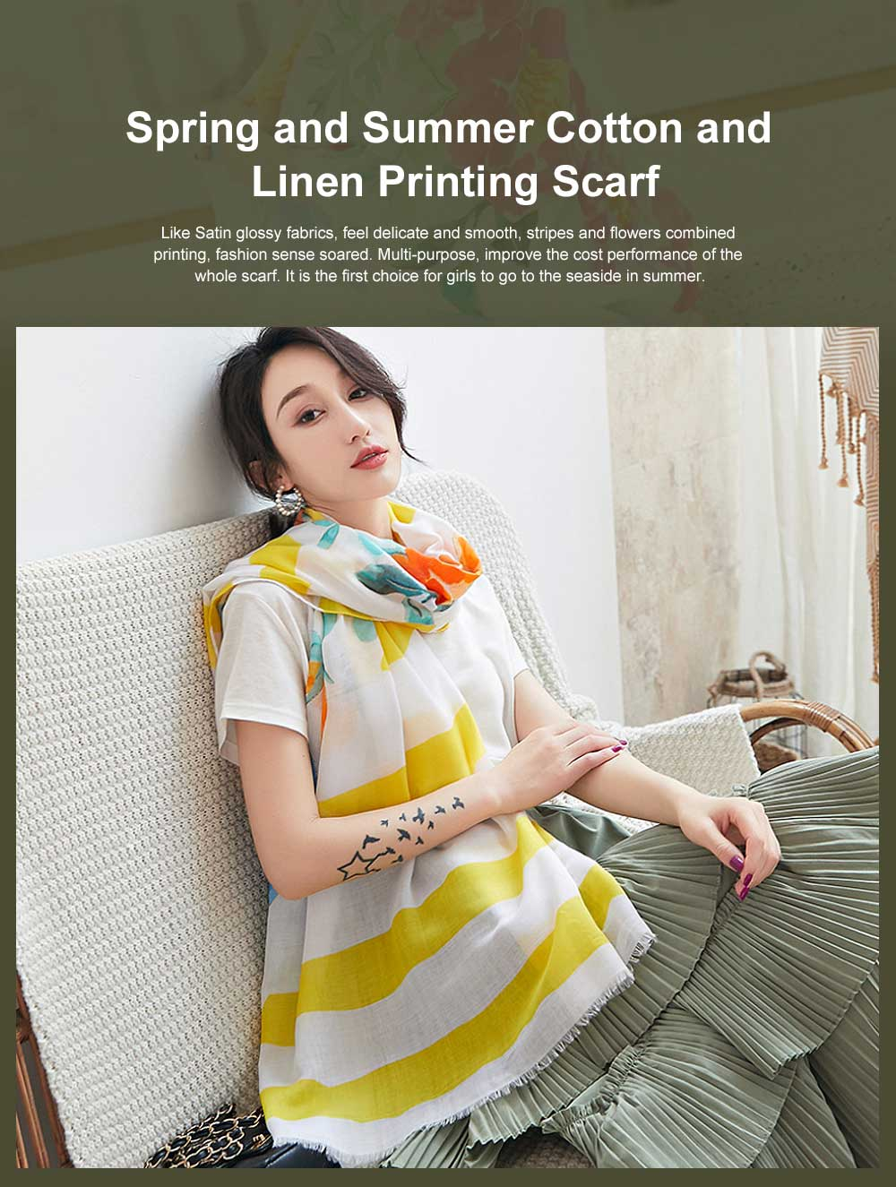 Spring and Summer Cotton Linen Printing Scarf, Ladies Travel Sunscreen Scarf Shawl