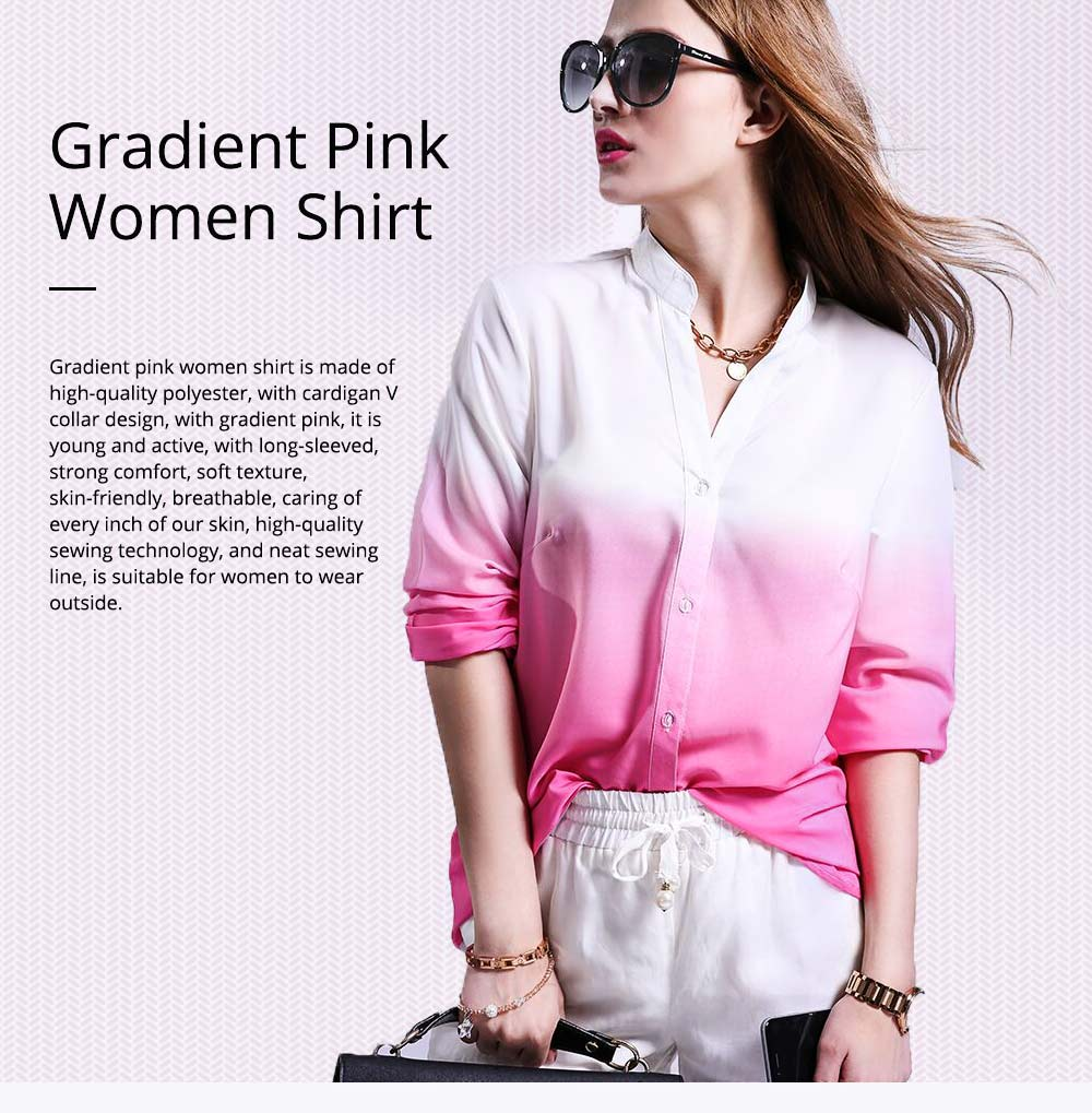 2019 HOT Popular Lady Blouse Sexy V Collar Long-sleeved Women's Chiffon Gradient Pink Shirt For Lady Women 0