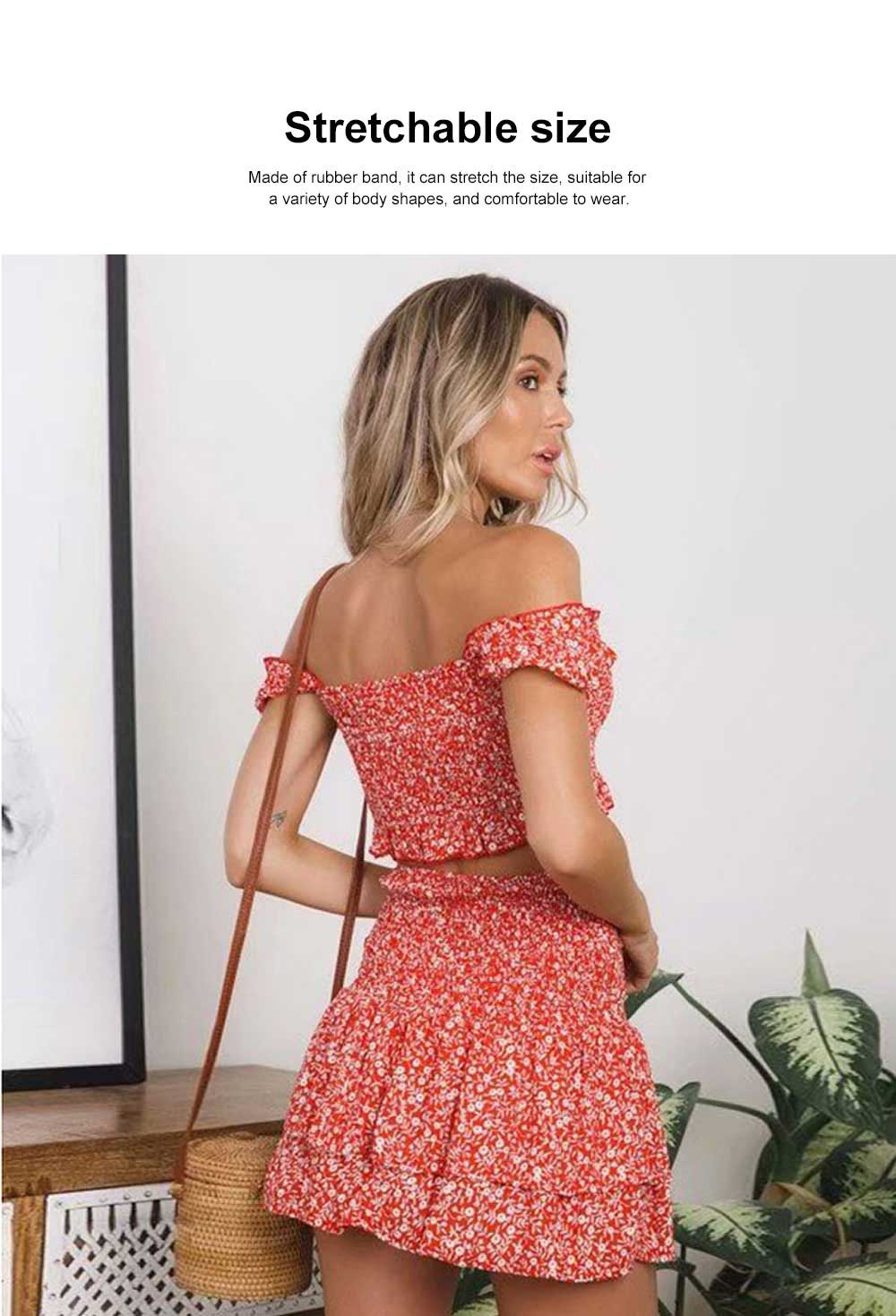 Fashion Summer Suit with Flowers Printing, A Shoulder Shirt with a Half-length Skirts Suit For Women Girls 1