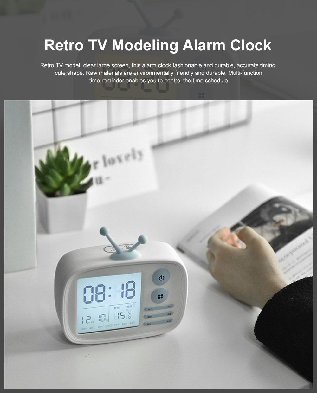 Retro TV Modeling Alarm Clock, Creative Cartoon Voice Charging Electronic Clock for Student Dormitories, Night-light Children's Bedside Alarm Clock 0