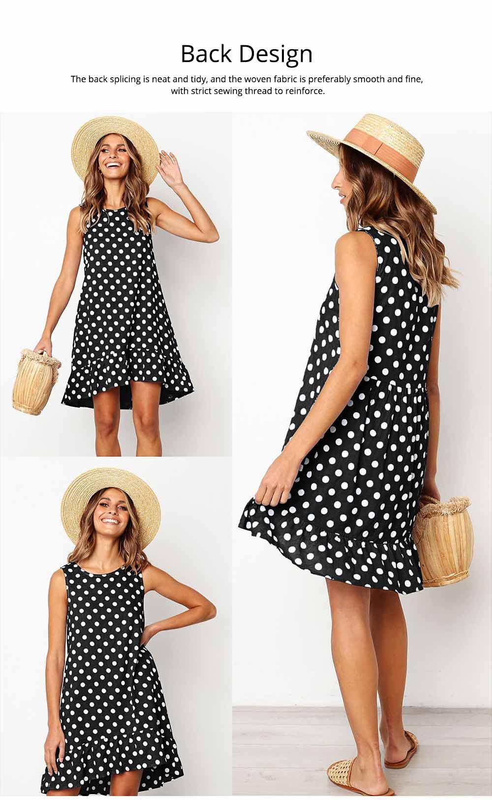 2020 Hot Sell Summer Women Girls Print Polka Dot Dress Ruffle Sleeveless A-Line Casual Loose Short Skirt 4