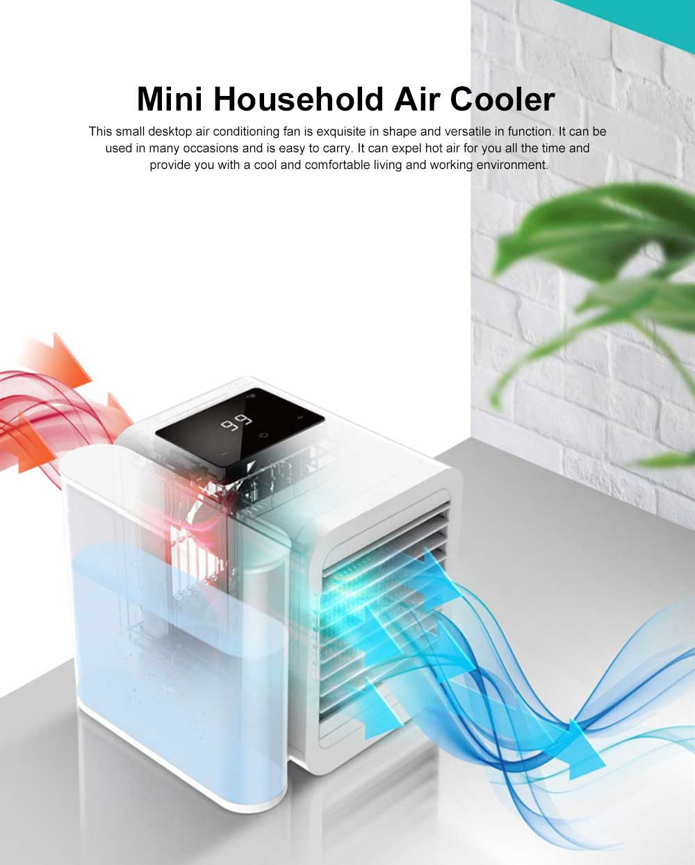 Tinkleo Small Household Desktop Air-cooler Fan Portable Three-in-one Mini Air Cooler Conditioning Fan 99 Wind Gear 1 Liter Water Tank Cool To 13 Degrees 0