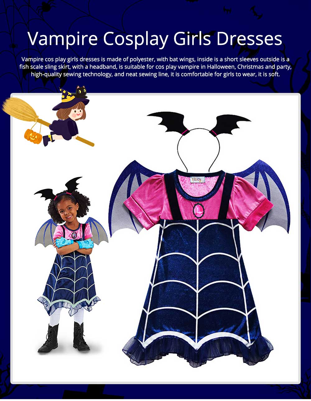 Halloween Christmas Costume Vampire Cos play Costumes Vampire Cos Play Girls Dresses Kids Fancy Party Dress For Girl Street Wear 0