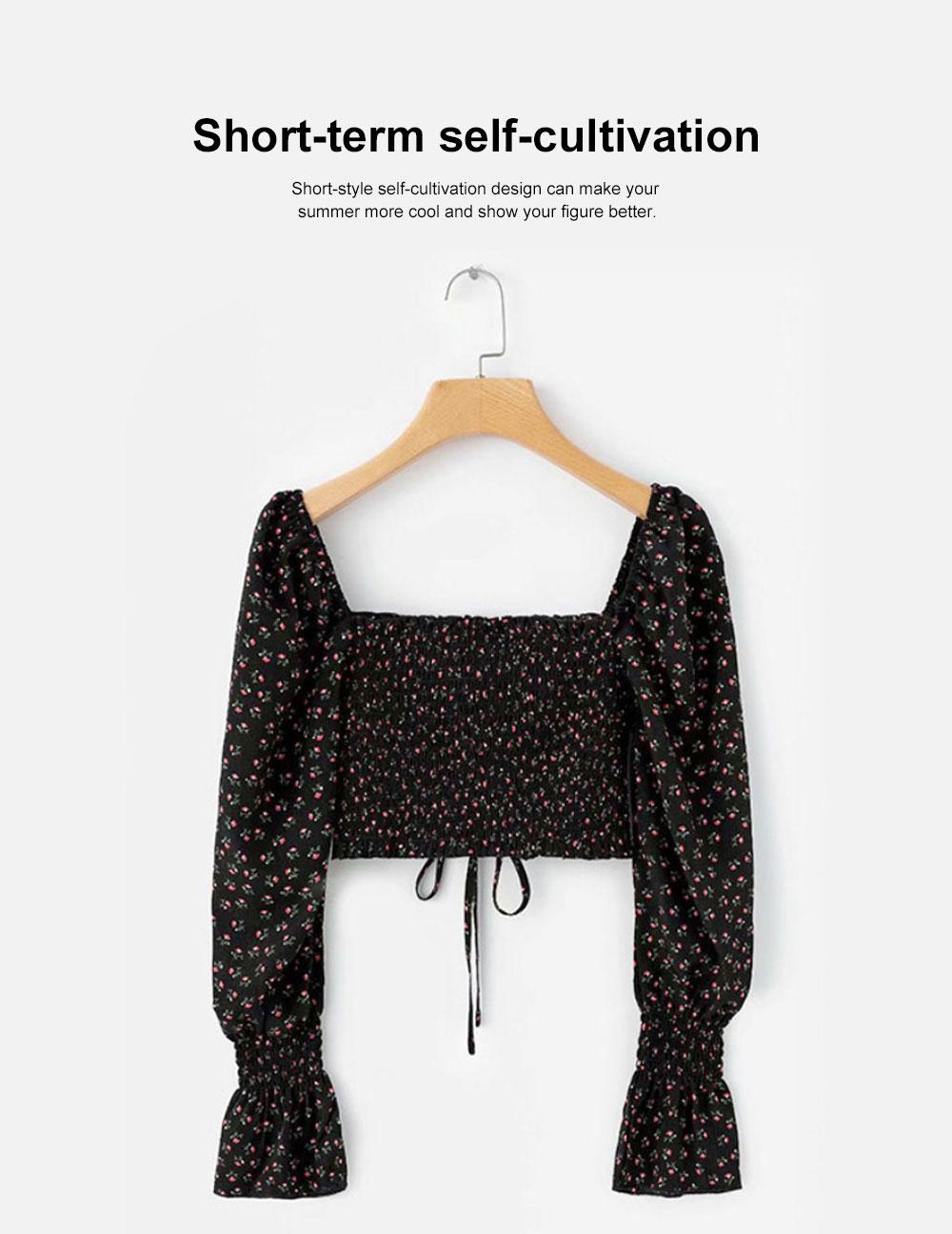 Super-short Chiffon Jacket 2019 Summer Autumn Slim Floral Retro Chiffon Blouses With Bell Sleeve 1