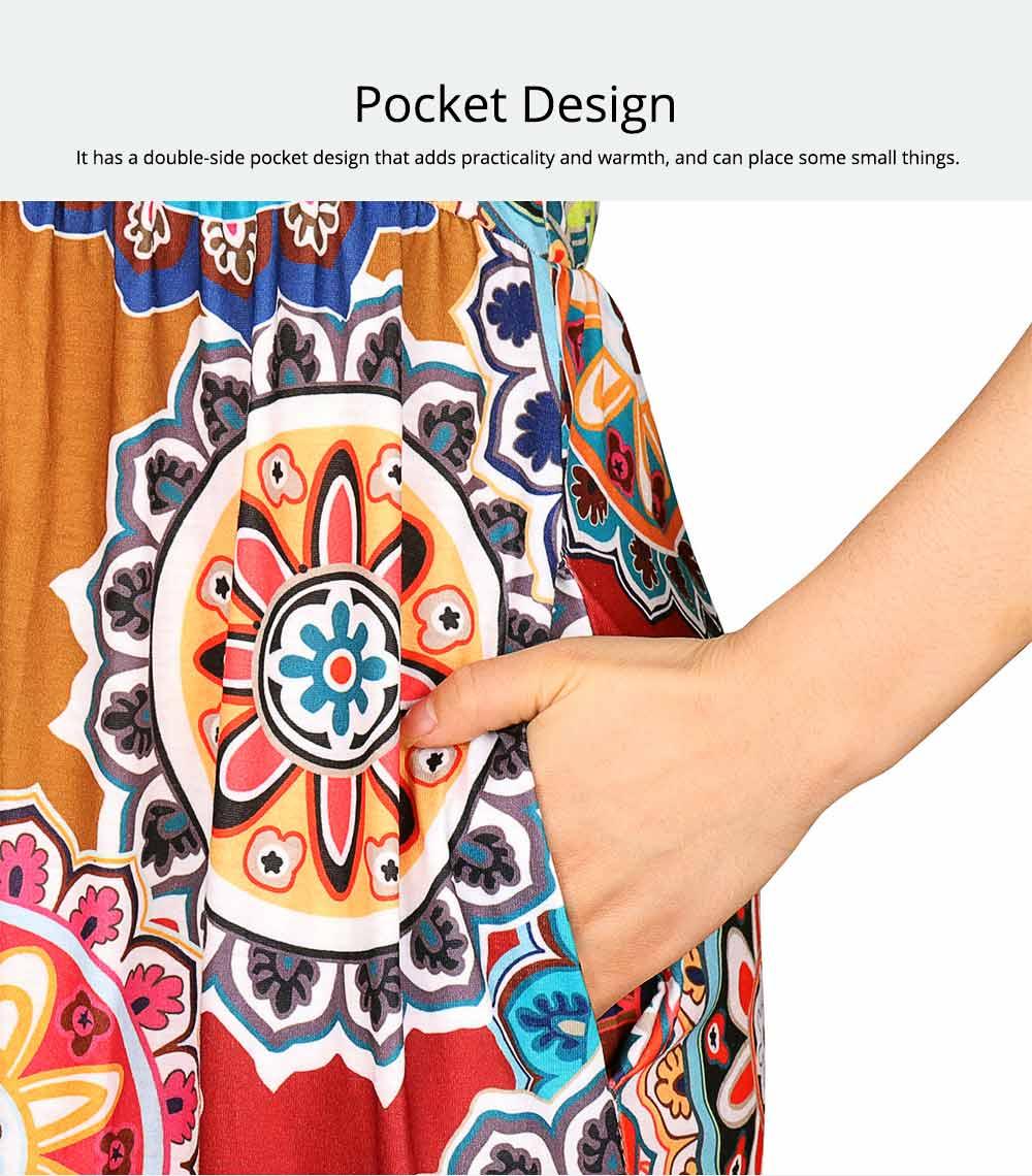 Slim Elegant Long Skirt Summer Elasticity High Waist Women's Flower Print Sleeveless Dress With Pockets Beach Dresses For Ladies 2