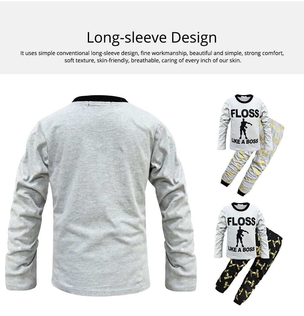Warm Long-sleeved Jacket and Trousers Two-Piece Suit Children Clothing Cotton Pants With English Alphabet Pattern 4
