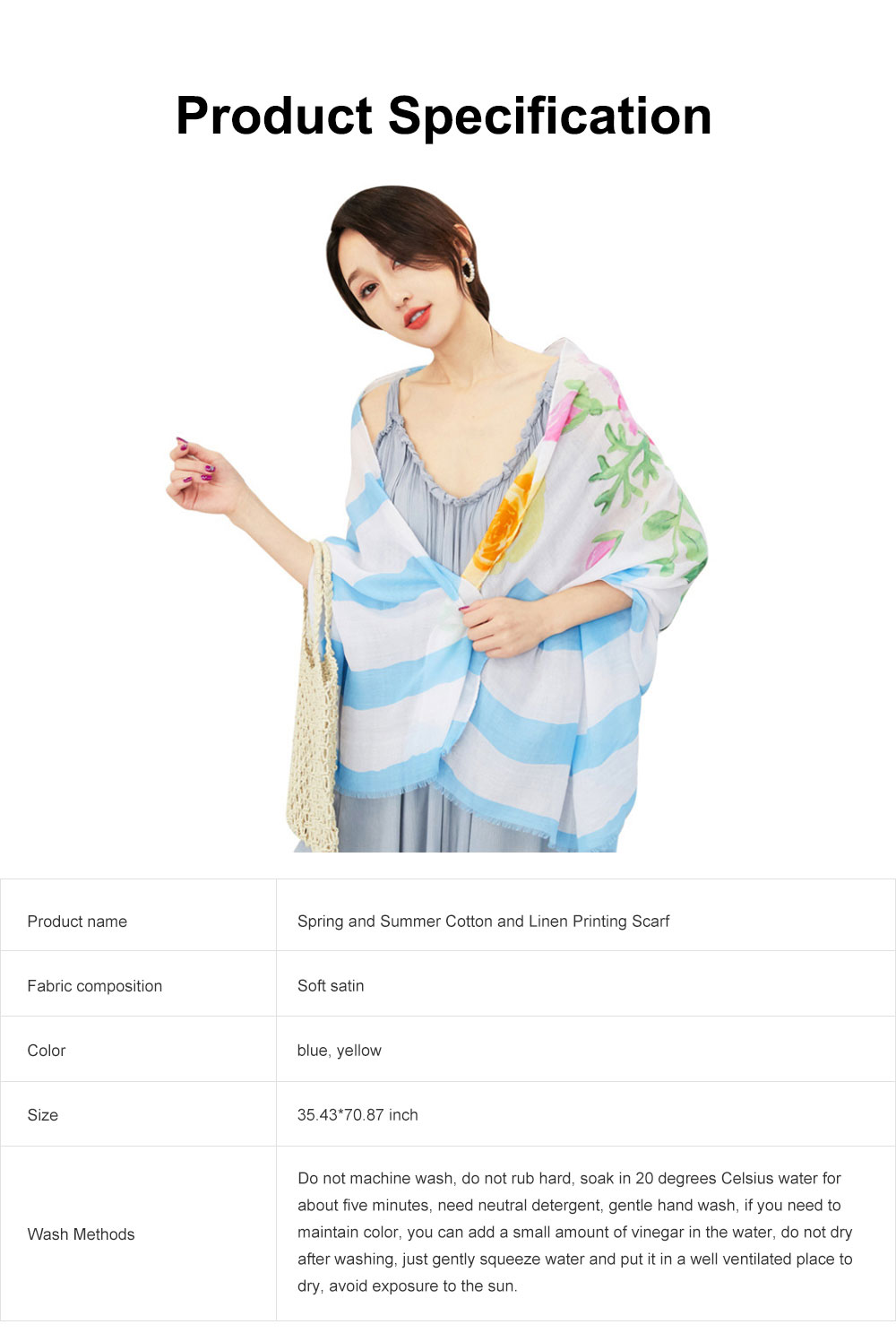 Spring and Summer Cotton Linen Printing Scarf, Ladies Travel Sunscreen Scarf Shawl All Match Scarves For Women Girl 6