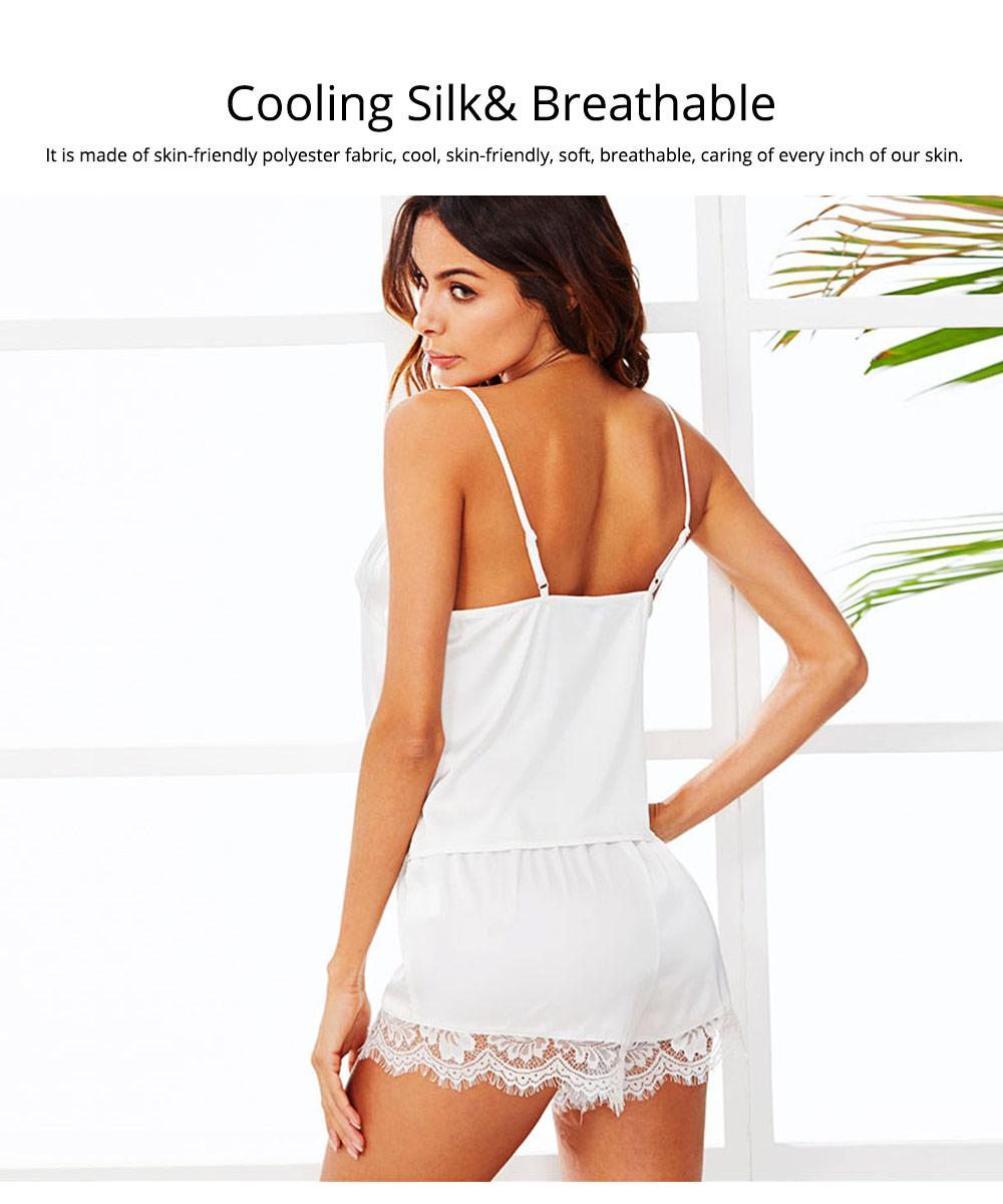 Hot Women Sleepwear Sets Sleeveless Strap Lace Trim Satin Top Nightwear Sexy Summer Home Wear Sleep Wear 3