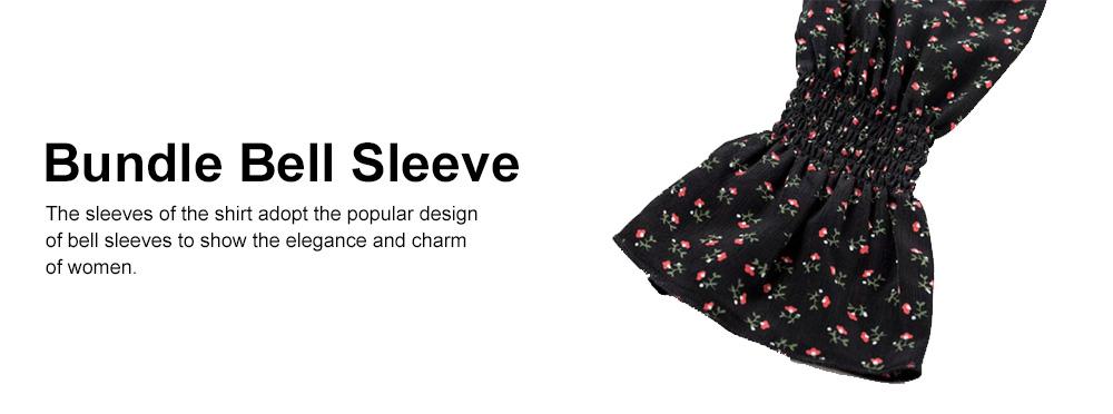 Super-short Chiffon Jacket 2019 Summer Autumn Slim Floral Retro Chiffon Blouses With Bell Sleeve 4