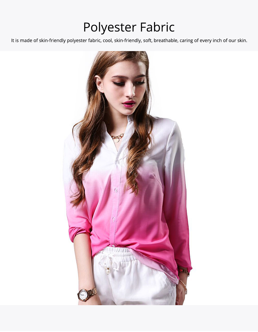 2019 HOT Popular Lady Blouse Sexy V Collar Long-sleeved Women's Chiffon Gradient Pink Shirt For Lady Women 5