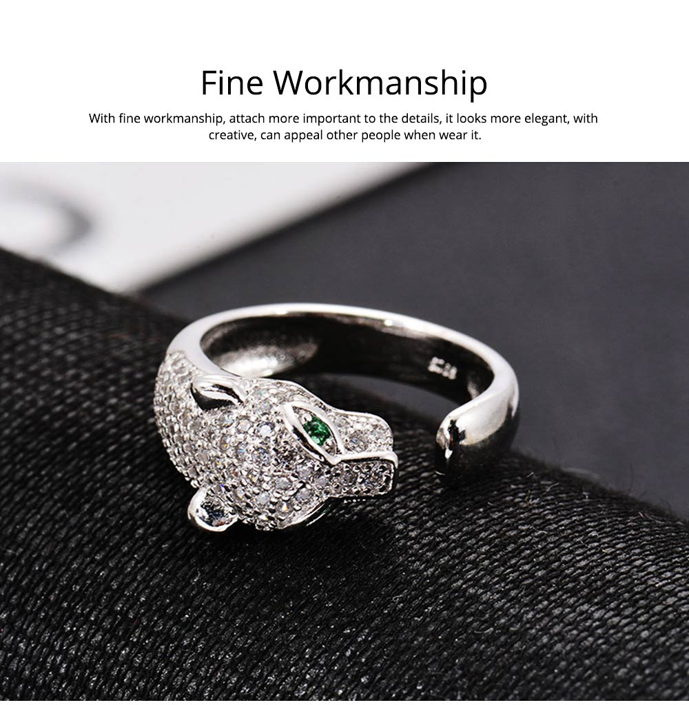 Rhinestone Crystal Leopard Head Ring Wedding Brand Ring Jewelry Christmas Gift Women Jewelry Finger Rings 5