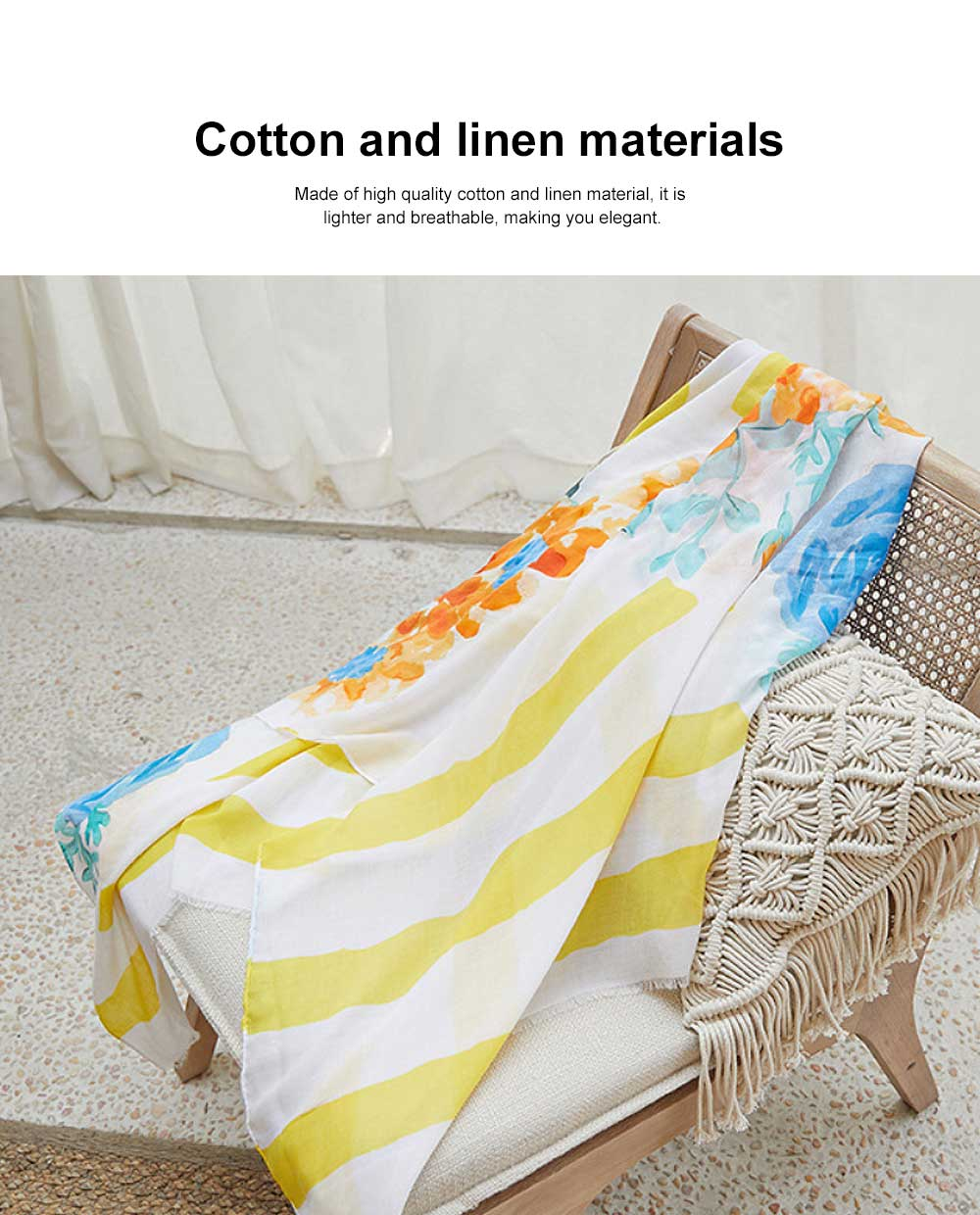 Spring and Summer Cotton Linen Printing Scarf, Ladies Travel Sunscreen Scarf Shawl All Match Scarves For Women Girl 5