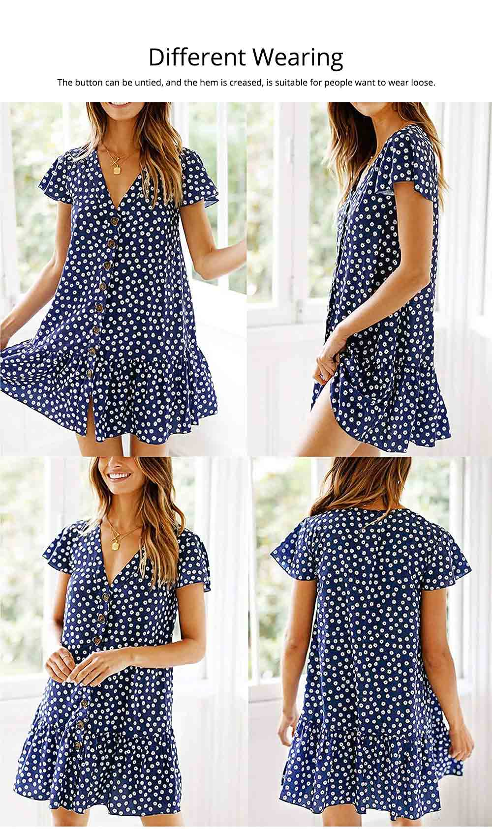 Summer Dot Print Dress Fashion V Neck Button Chiffon Casual Short Sleeve Women Sundress Mini Party Ladies Loose Ruffled Skirt 5
