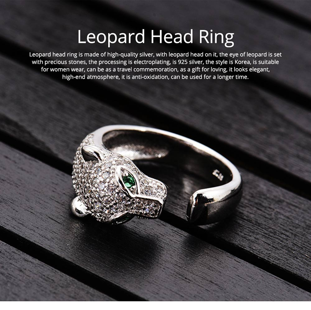 Rhinestone Crystal Leopard Head Ring Wedding Brand Ring Jewelry Christmas Gift Women Jewelry Finger Rings 0
